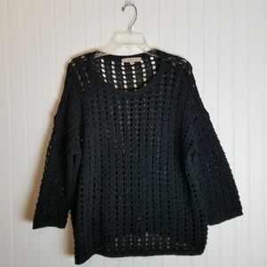 LOFT Open Knit Black Sweater